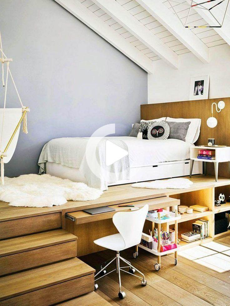 9 Idees Pour Adopter Le Lit Estrade Idee Chambre Chambre A Coucher Design Amenagement Chambre Ado