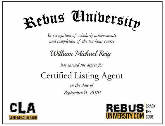 Congratulations to our new Rebus University graduate Bill Reig! #Rebus #University #rebusuniversity #CLA #certifiedlistingagent #graduate #William #Michael #Reig #williammichaelreig