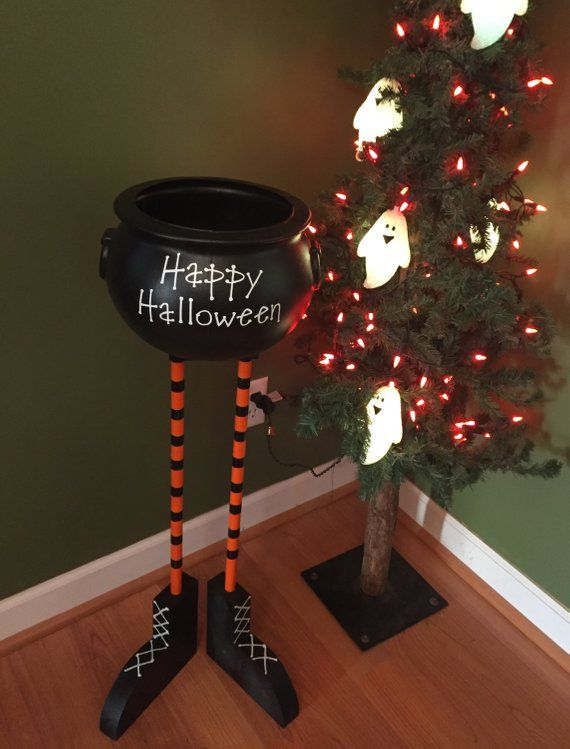 Halloween Bowl Halloween Decor Candy Bowl Cauldron Candy Bowl Witch Feet Witch Legs Fall Porch Decor Witch