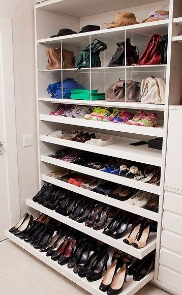 another way to maximize space with closet depth pull out shoestorage