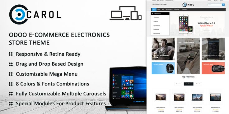 Carol Electronics Store Theme for Odoo v9 Ecommerce - 73Lines