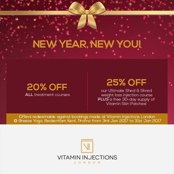 Happy New Year from the whole team at Vitamin Injections London! Get up to 25% off on #IVTherapy in January 2017. Call +44 (0) 203 823 6551 to book.