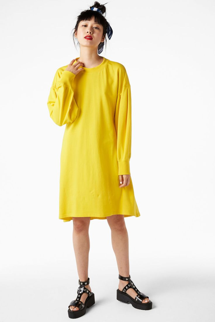 <p>Who says sweats are sloppy? Not with this charming puff-sleeved dress with soft sweatshirt feels and a skirt with some flare to it. </p> <p>colour: