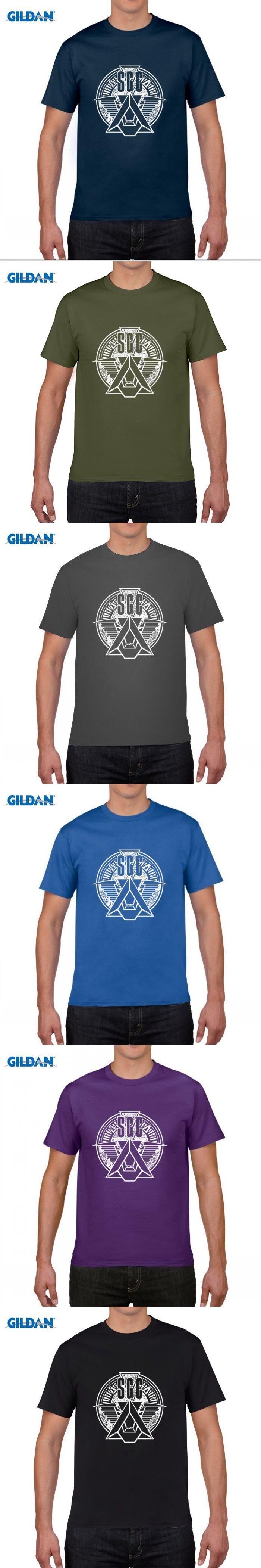 GILDAN pure cotton round collar T-shirt  Custom T Shirts Cheap Short Stargate Military Men Printing O-neck Shirt