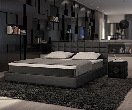 bett junis schwarz 180x200 cm mit topper und matratze. Black Bedroom Furniture Sets. Home Design Ideas
