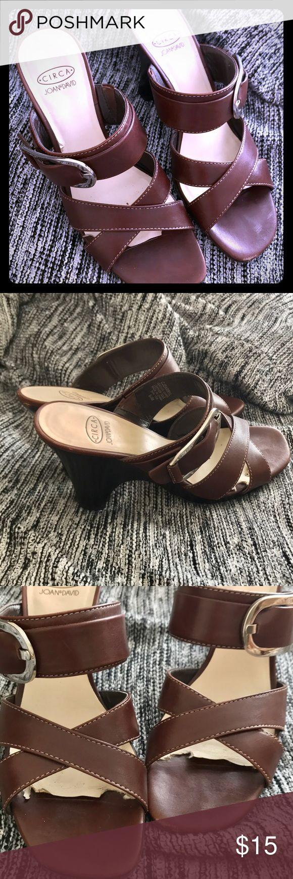 Joan & David Brown Heels With Silver Buckle 6.5 Circa by Joan & David Brown Heels With Silver Buckle 6.5 Joan & David Shoes Heels