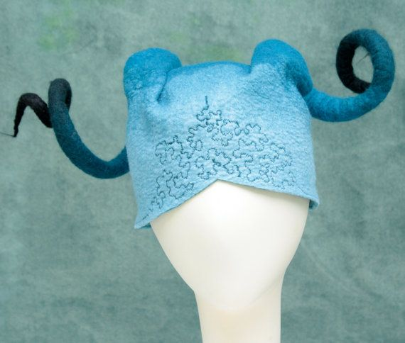 Fairy Horns Hat in Blue- Hand Felted Merino- Costume- Ombre- Fantasy- Maleficent- Coil