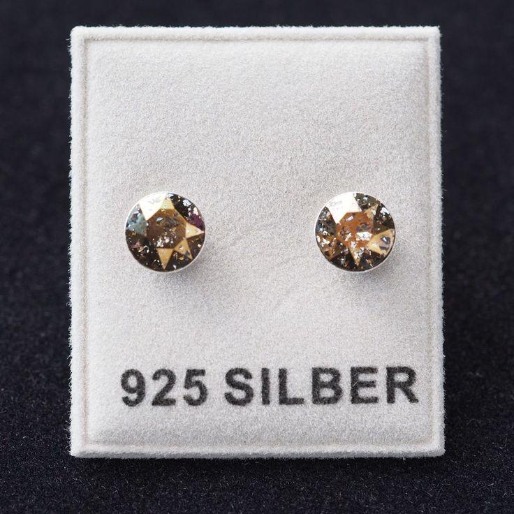 NEU 925 Silber OHRSTECKER 6mm SWAROVSKI STEINE gold patina/goldfarben OHRRINGE-£8,99-magoshop1