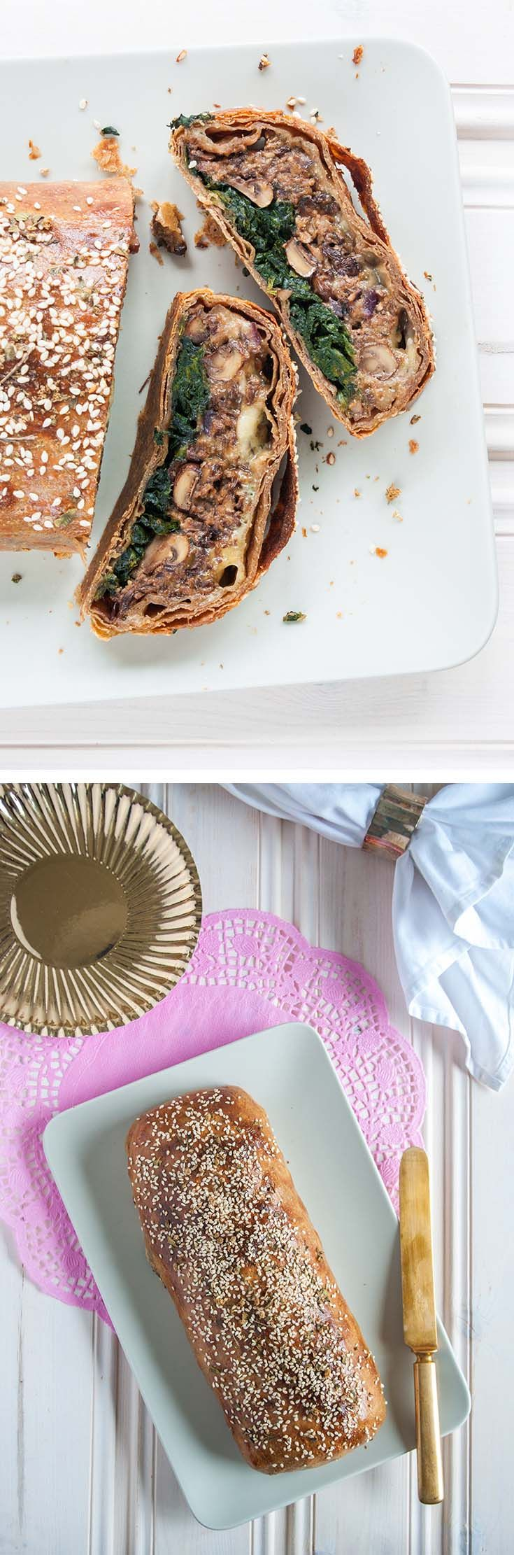 Mushroom Wellington – garlic mushrooms, seasoned spinach and melted blue cheese, wrapped in thin, flaky layers of spelt pastry. This vegetarian Christmas centrepiece can be made ahead for an easy time on the day.