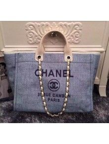 1d3302d0f8f5 Chanel Large Deauville Canvas Tote Bag Light Blue | Chanel | Canvas tote  bags, Chanel, Bags
