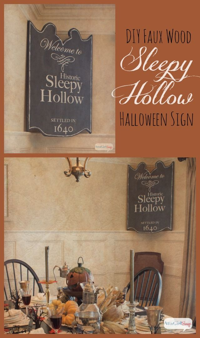 Atta Girl Says | DIY Sleepy Hollow Halloween Sign – No Power Tools Needed | http://www.attagirlsays.com