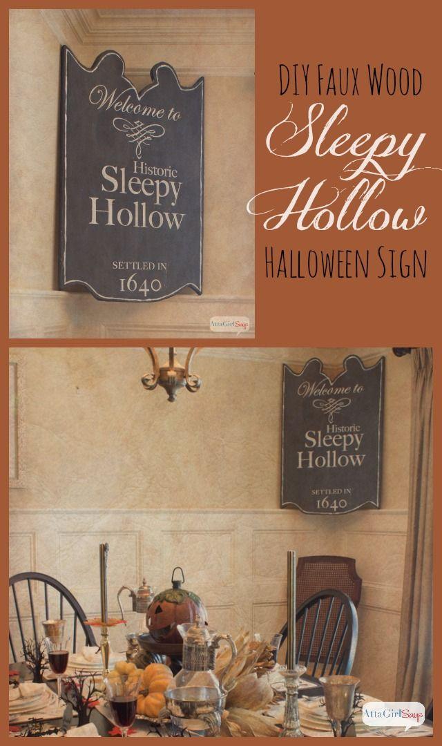 Atta Girl Says | DIY Sleepy Hollow Halloween Sign – No Power Tools Needed | http://www.attagirlsays.com