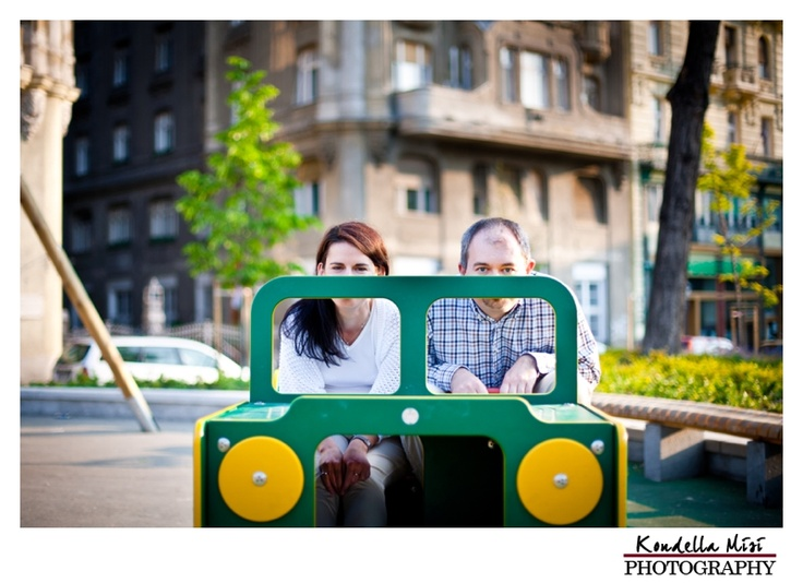 Budapest fun engagement love session in spring time at sunrise with toy car