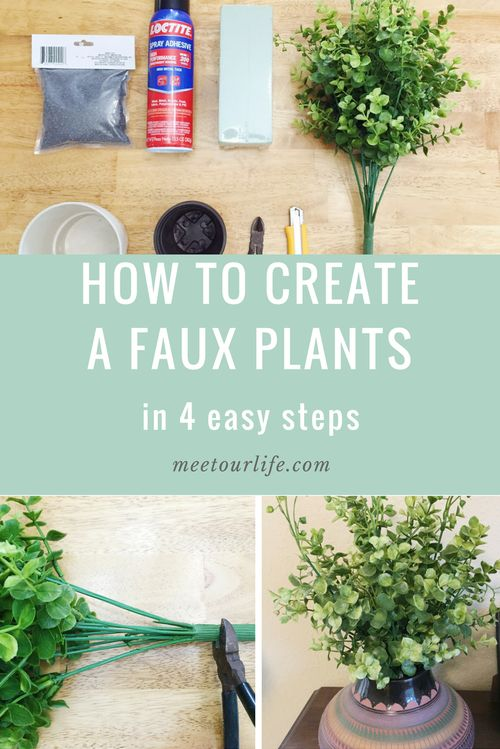 Looking for an easy DIY to add farmhouse style? Try out this faux plant diy! Click through or safe for later. www.meetourlife.com   diy   farmhouse style   faux plants