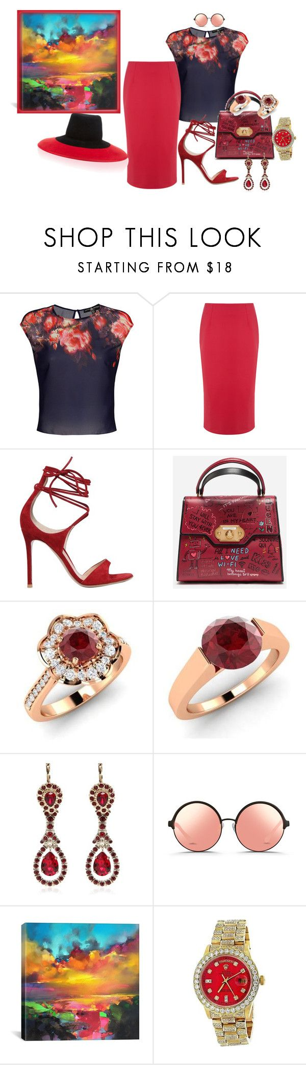 """""""Something especially for you"""" by blujay1126 ❤ liked on Polyvore featuring Être Cécile, Gianvito Rossi, Dolce&Gabbana, Diamondere, Givenchy, Matthew Williamson, iCanvas and Rolex"""