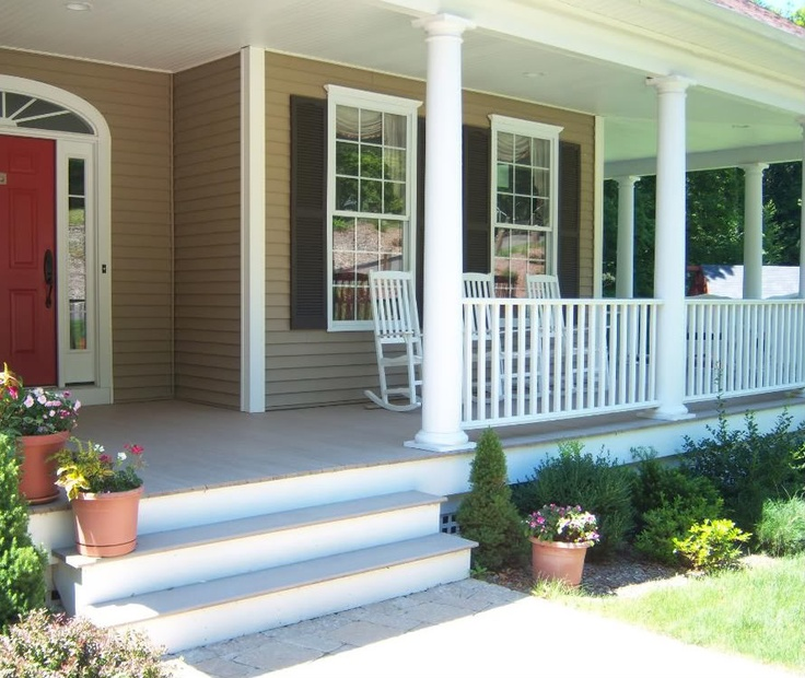 Small Front Porch Column Ideas: Off Centered Front Door, Love The Porch Columns