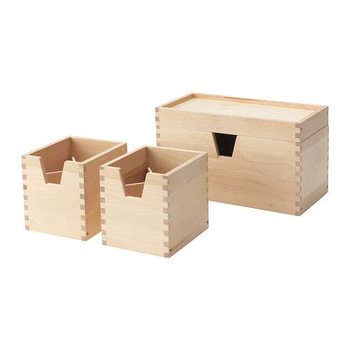$14.99 FÖRHÖJA Box, set of 4 - birch - IKEA.  Once in stock need to pick up a bunch for organizing around house.