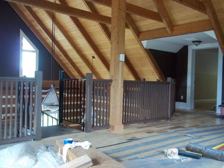 Cabin Interior Loft   Wall Color  Leather Chair  Wood Ceilings   Beams  Sealed20 best New Residential Construction   Cabin images on Pinterest  . Painting Log Cabin Interior Walls. Home Design Ideas