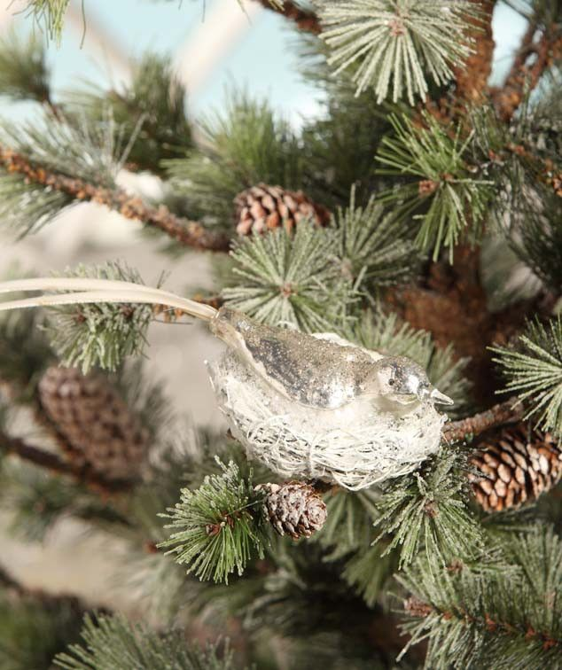 Silver Mercury Bird In Nest Clip | Glass Bird Clip Ornaments - The Holiday Barn