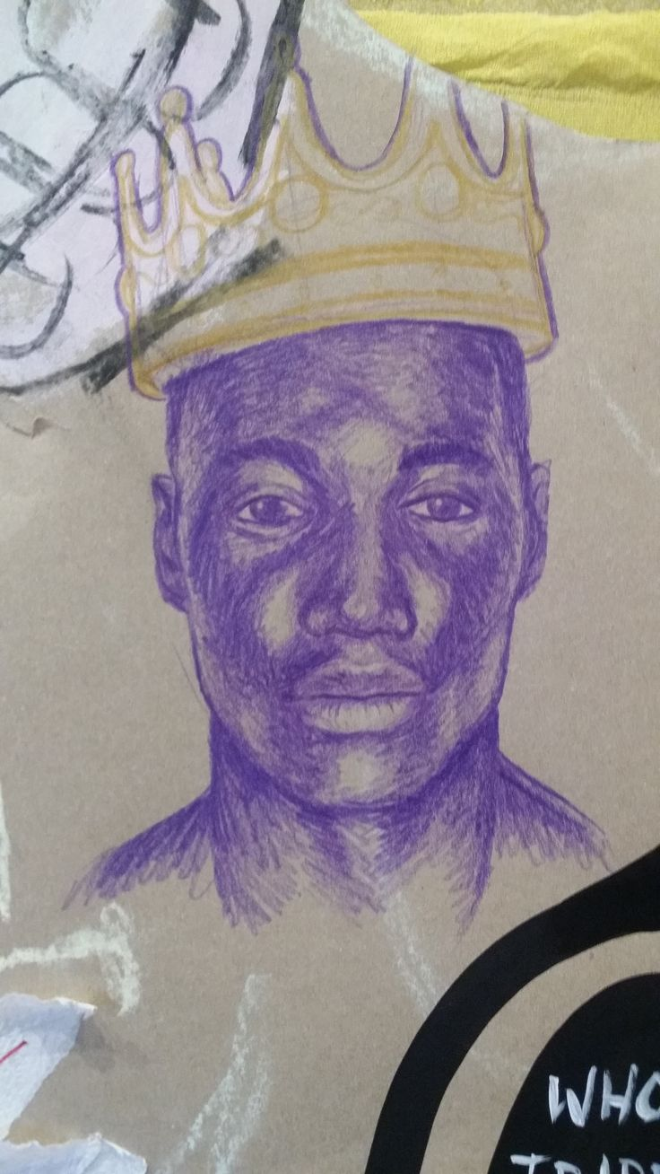 collaborative drawing - colour pencils - portrait from photographic source