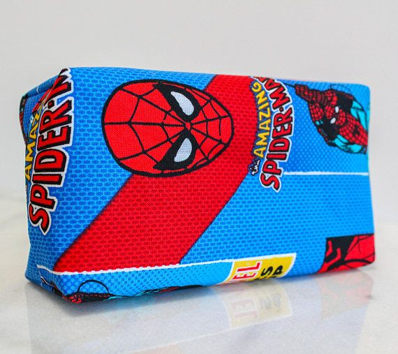 These Spiderman bags, made from Amazing Spiderman print cotton and lined with red cotton fabric, are great for fans of all ages! Available in two different sizes, 7-inch and 9-inch, these bags can hold anything from pencils and school supplies to makeup and hair accessories. The