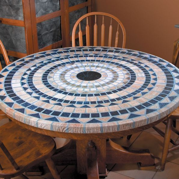 Mosaic Stone Look Round Elasticized Tablecloth Table Cover Vinyl Fitted Cover Na Mosaiktisch Tischdeckenbeschwerer Mosaik