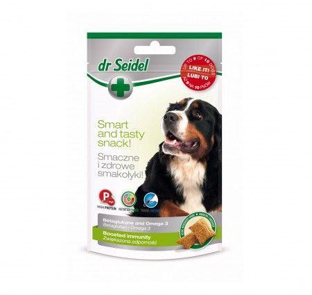 dr Seidel Smakołyki dla psów na zwiększenie odporności. Smakołyki dla psów szczególnie polecane w stanach obniżenia odporności i w okresie rekonwalescencji. Wzbogacone o β-1,3/1,6-D-glukan i kwasy Omega-3 w ilościach odpowiadających suplementom diety. β-1,3/1,6-D-glukan wzmacniający naturalną odporność organizmu przeciwko infekcjom, wspomagający procesy regeneracji i gojenia, a także skracający okres rekonwalescencji.