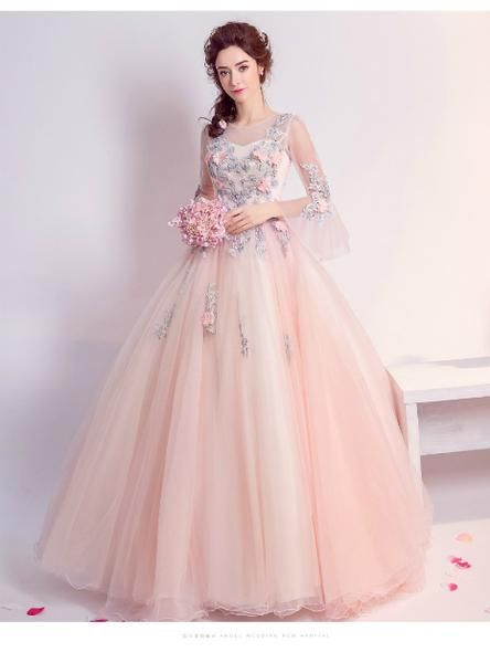 9ef74d774682 In Stock Ship in 48 hours Ball Gown Pink Tulle Long Sleeve Appliques ...
