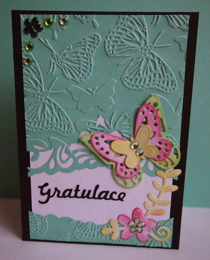 #birthday #card #butterflies #emboss #black #white #green #gratulation #papercard #cardmaking #handmade #mywork #flower