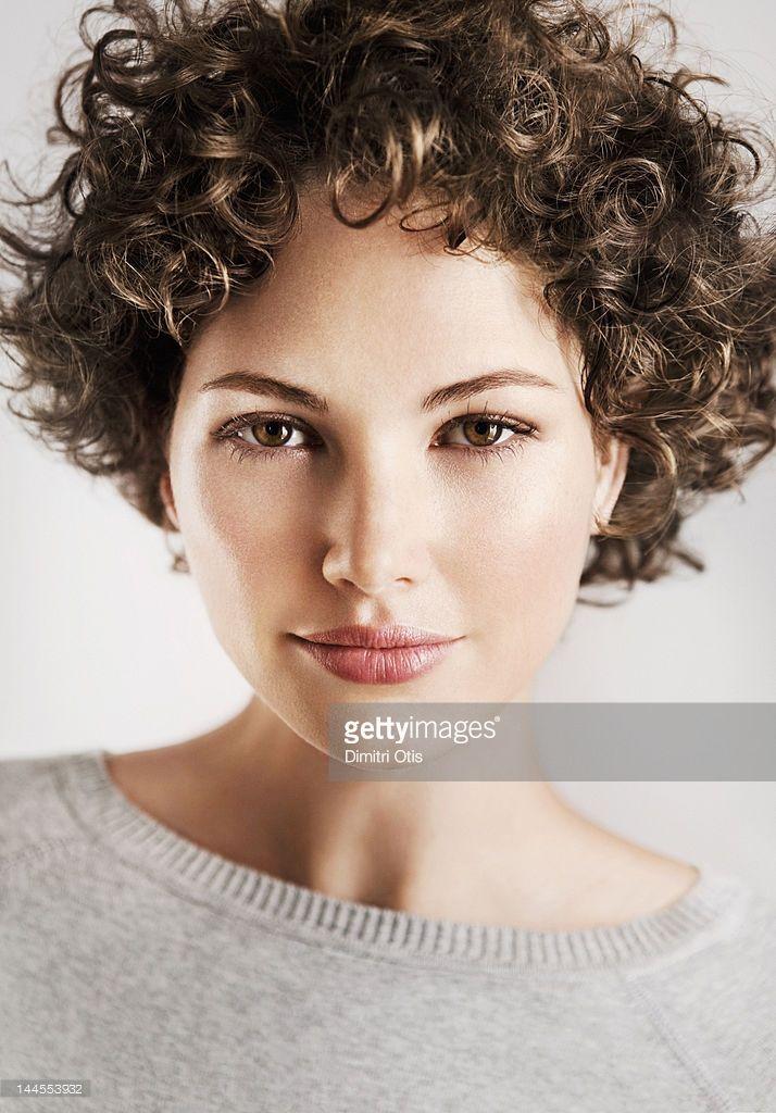 Stock Photo : Beauty portrait of curly brunette woman