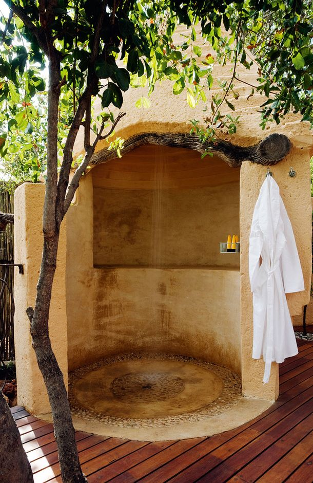 Earthbag dome outdoor shower. :D