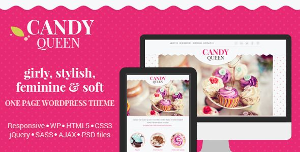 Candy Queen - Responsive  One Page Theme   http://themeforest.net/item/candy-queen-responsive-one-page-theme/7127489?ref=damiamio      Candy Queen – Responsive One Page Multi-Purpose Theme 	 Whether you're looking for a Wordpress theme for your candy boutique, florist design studio, beauty salon, this beautiful and clean responsive one page design is suitable for anyone who want's to showcase their portfolio in a unique, feminine and playful way.  	 We have 3 color schemes prepared, but you…
