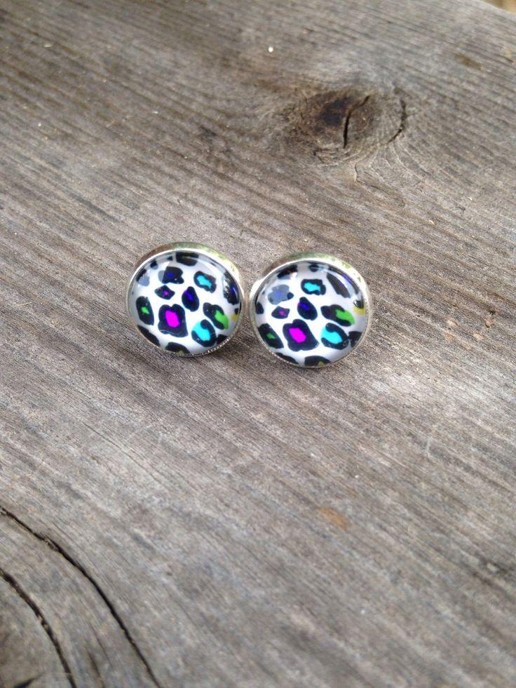 Neon Animal Print Earrings, 12mm Earrings, Glass Earring, Leopard Print Earrings by PearlsAndPrim on Etsy https://www.etsy.com/listing/242250196/neon-animal-print-earrings-12mm-earrings