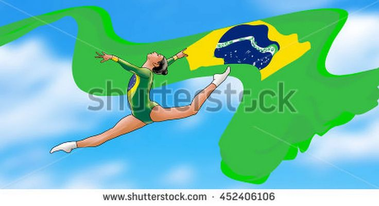Rio. Brazil Flag. Sport Games Summer 2016. Young Gymnast Woman With Brazilian Flag, Doing Art Gymnastics Element Split Jumps In The Air. Rhythmic Gymnastics. Blue Sky. Abstract Illustration. Painting. - 452406106 : Shutterstock