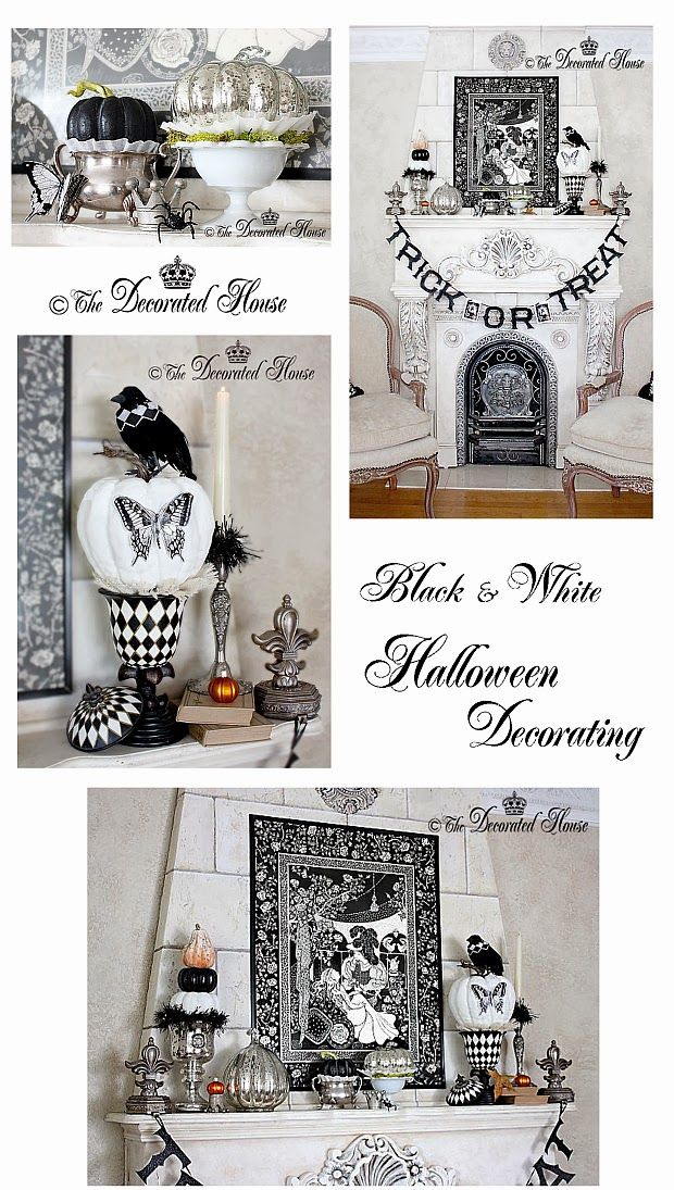 halloween decorating mercury glass with black white - Black And White Halloween Party