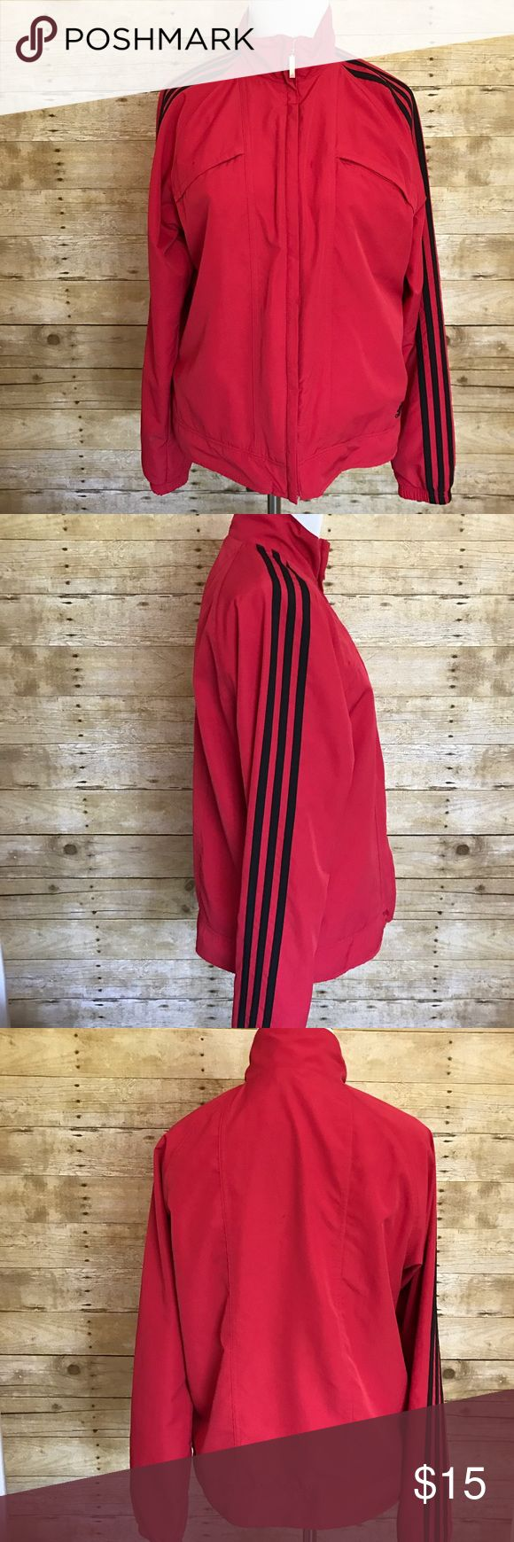 Men's Adidas windbreaker Red size M Nice men's red windbreaker zip up with black stripes on sleeves. Size M. Comes from smoke free home. I ship next business day after payment is received. Please check out my other items! Adidas Jackets & Coats Windbreakers