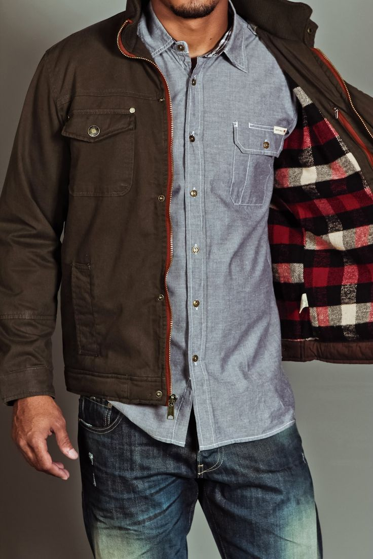 Brown Canvas Jacket with Buffalo Plaid Lining, Men's Fall Winter Fashion.