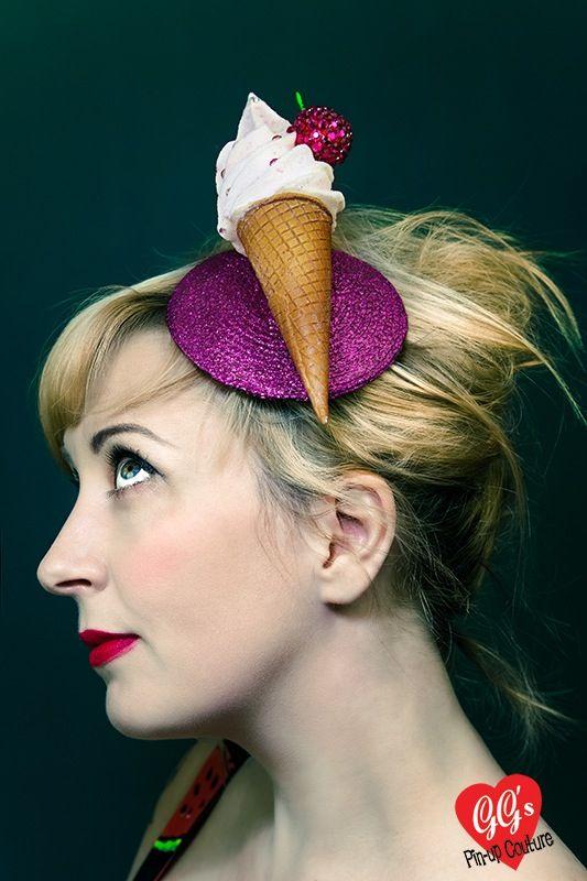 Image of Kitsch Kawaii Pink Glitter Ice Cream Fascinator
