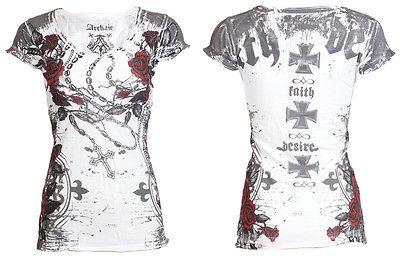 Archaic AFFLICTION Womens T-Shirt LA FLOR Roses Tattoo Biker UFC Sinful S-L $40