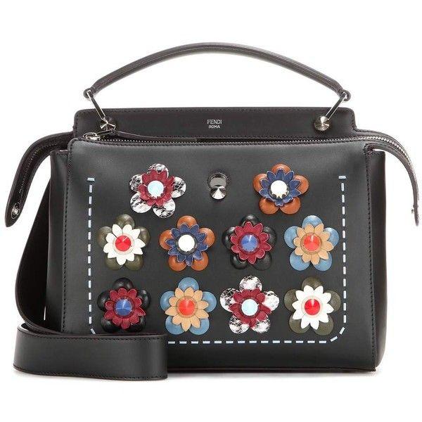 Fendi DotCom Embellished Leather Shoulder Bag (61,860 MXN) ❤ liked on Polyvore featuring bags, handbags, shoulder bags, real leather handbags, leather shoulder bag, fendi purses, fendi handbags and fendi