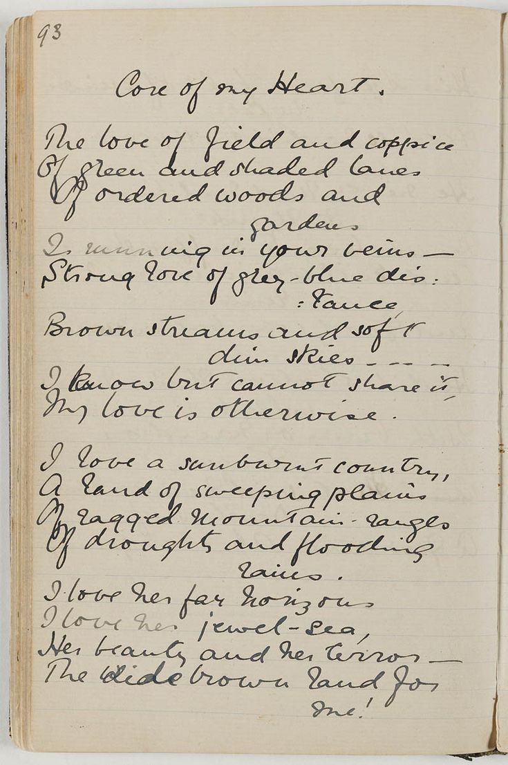 Core of My Heart by Dorothea MacKellar - part I. The complete poem is just beautiful!