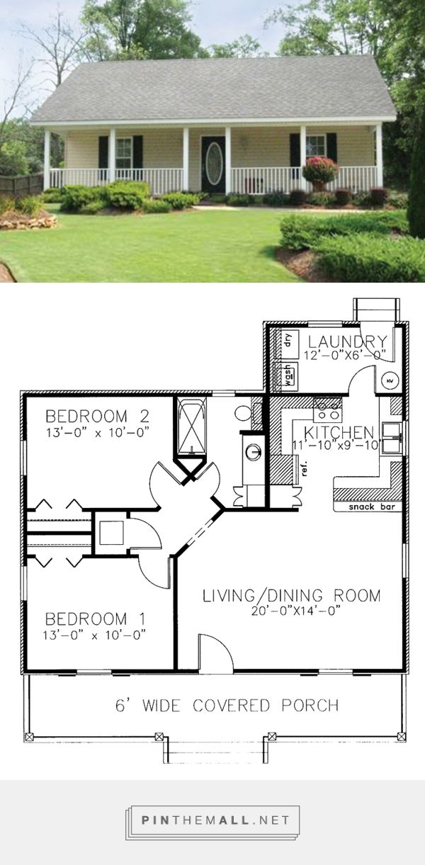 Country Style House Plan - 2 Beds 1 Bath 864 Sq/Ft