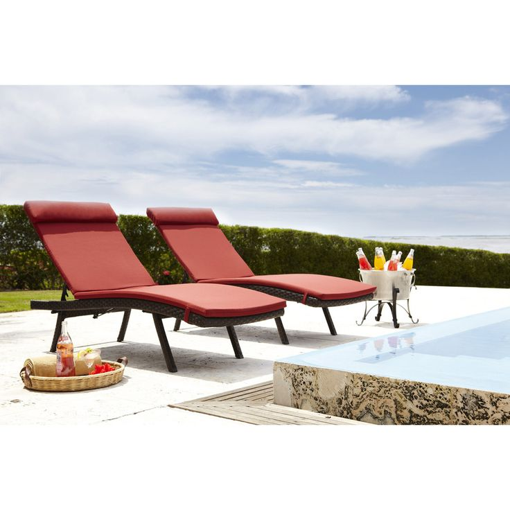 lowes woven chaise lounge with sunbrella cilantro chaise cushions and pillows