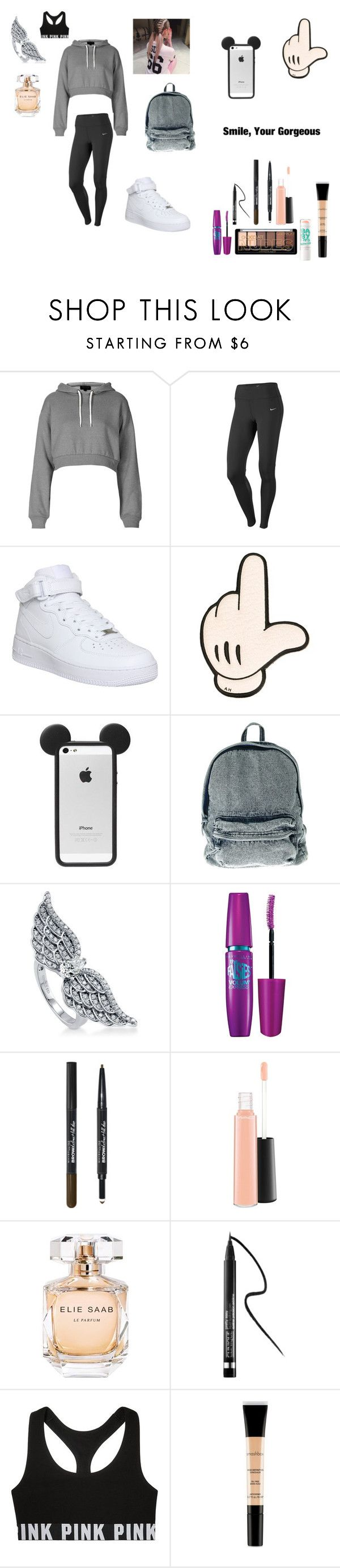 """""""Casual Outfit---Nike Air Force"""" by laughoutloud-101 ❤ liked on Polyvore featuring moda, Topshop, NIKE, Anya Hindmarch, BERRICLE, Maybelline, MAC Cosmetics, Elie Saab, Clinique i Victoria's Secret"""