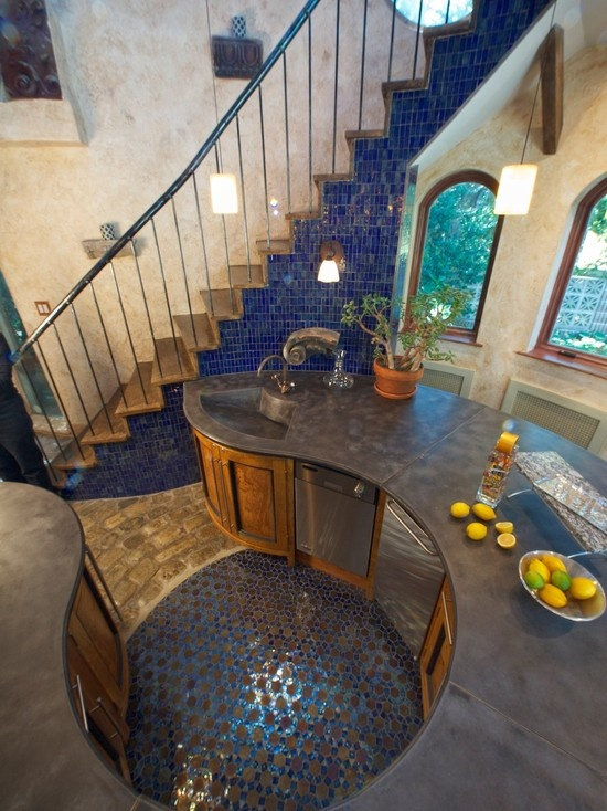 We Are In Love With This Round Kitchen Design And The Use Of Mosaics On The Stairs Wrapping The