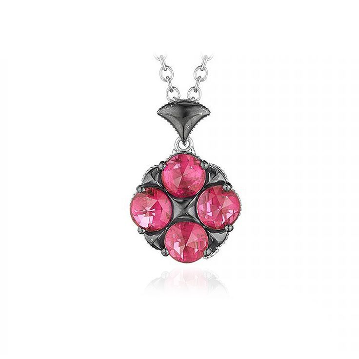 Tell her you love her with Tacori jewels! This unqiue blossoming pendant from Tacori's City Lights collection is ever so sweet and oh so feminine. With four multi-faceted pink stones set in a unique floral design, this pendant is the perfect Tacori gift to show her how much you care. (Chain Included).
