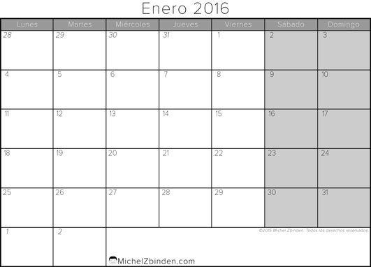 calendario enero 2016 libre de imprimir Gris lunes Mundo
