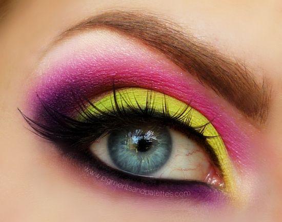 Love: Makeup Trends, Eye Makeup, Bright Eye, Eye Shadows, Eyemakeup, Eyeshadows, Bright Colors, Neon Yellow, Purple Eye