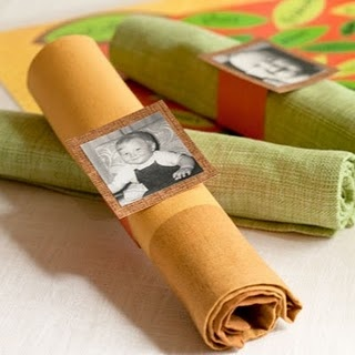 Unique idea for Thanksgiving or any other holiday - Use old pictures as napkin rings/placecards at your table. Everyone will look for their picture, instead of their name!