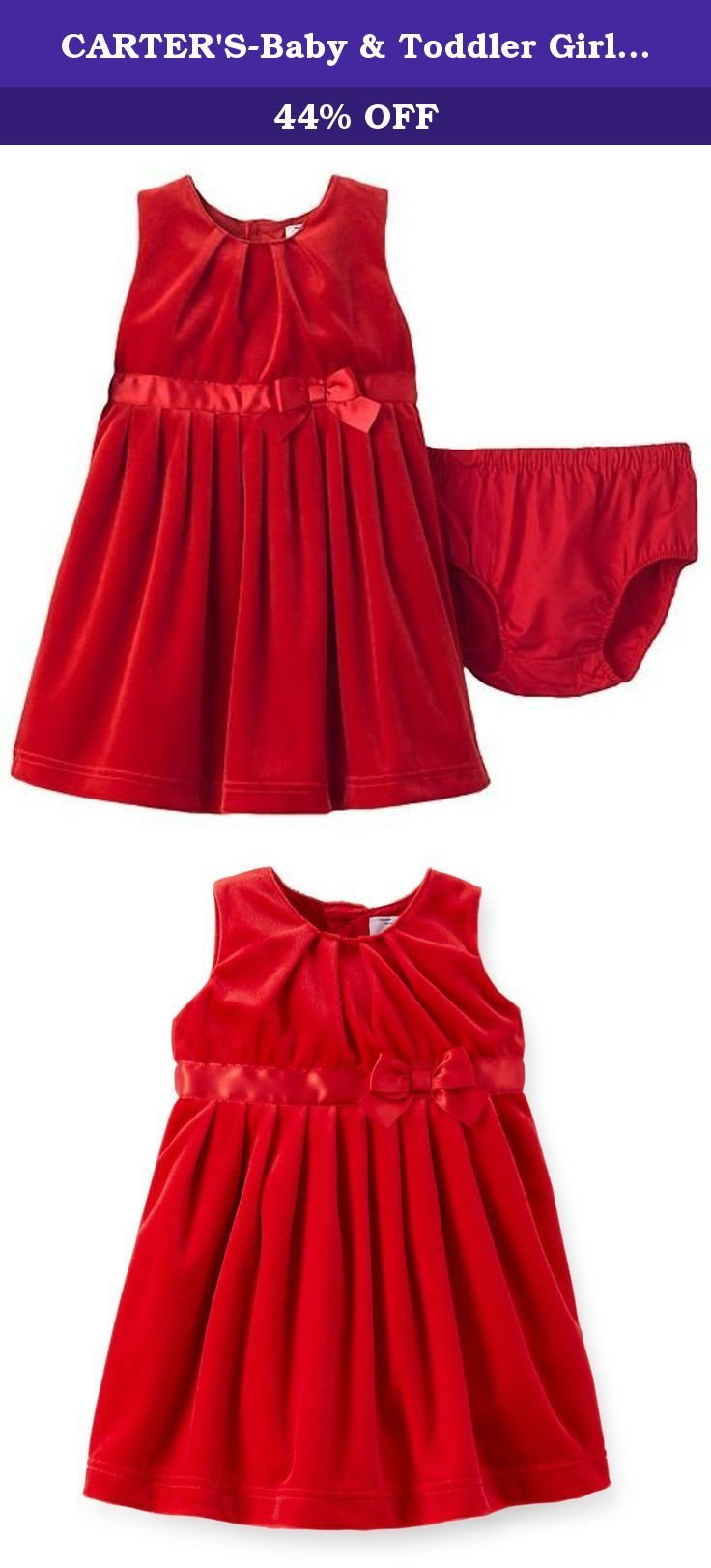 CARTER'S-Baby & Toddler Girl Special Occasion Dress-Diaper Cover-Satin Bow (12M, Red Velour). Perfect for picture taking, holiday parties and special occasions, this velour dress will make her feel like a princess with a satin bow sash and taffeta-lined skirt for added volume and flounce.